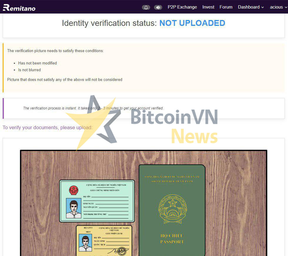 Upload your ID/passport to verify your account
