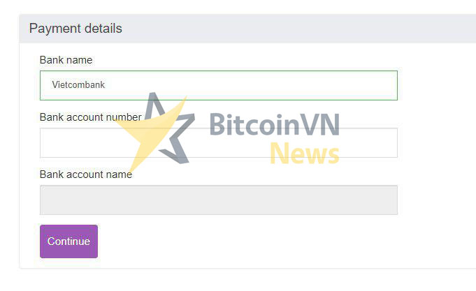 Sell BTC - VND onto your bank account