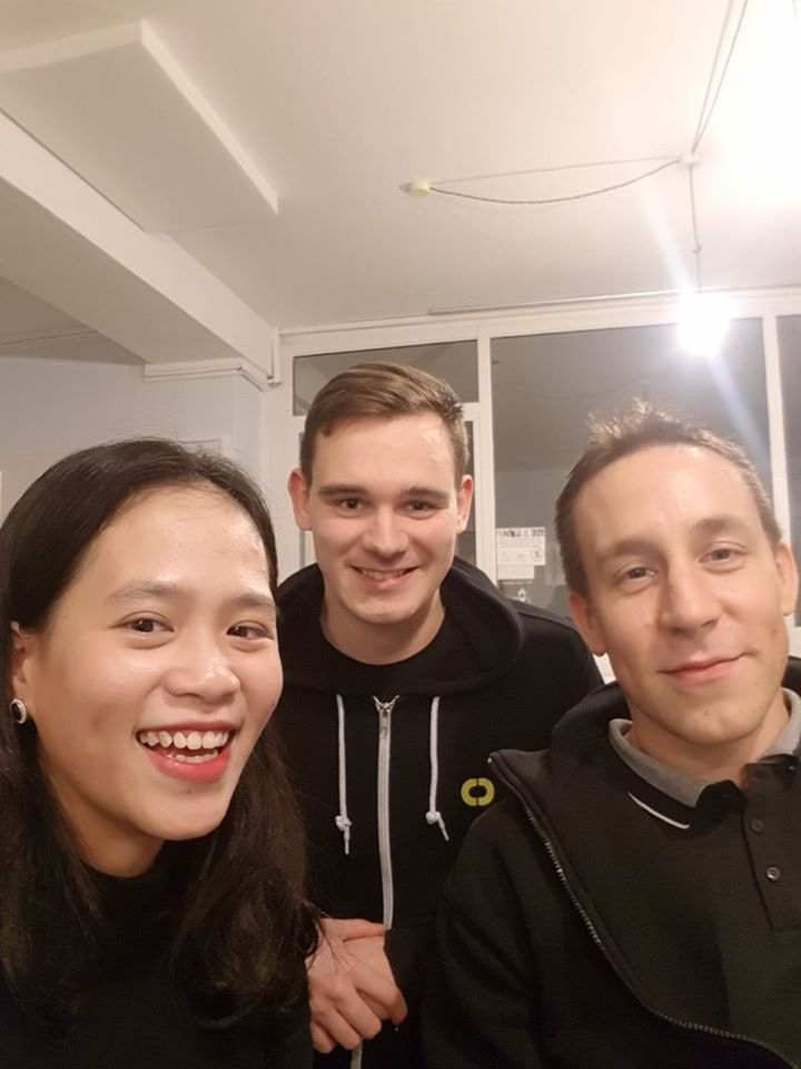 Nguyen Tran Bao Phuong, BitcoinVN CEO with Timo from Chaincode Labs and Dominik Weil, BitcoinVN COO