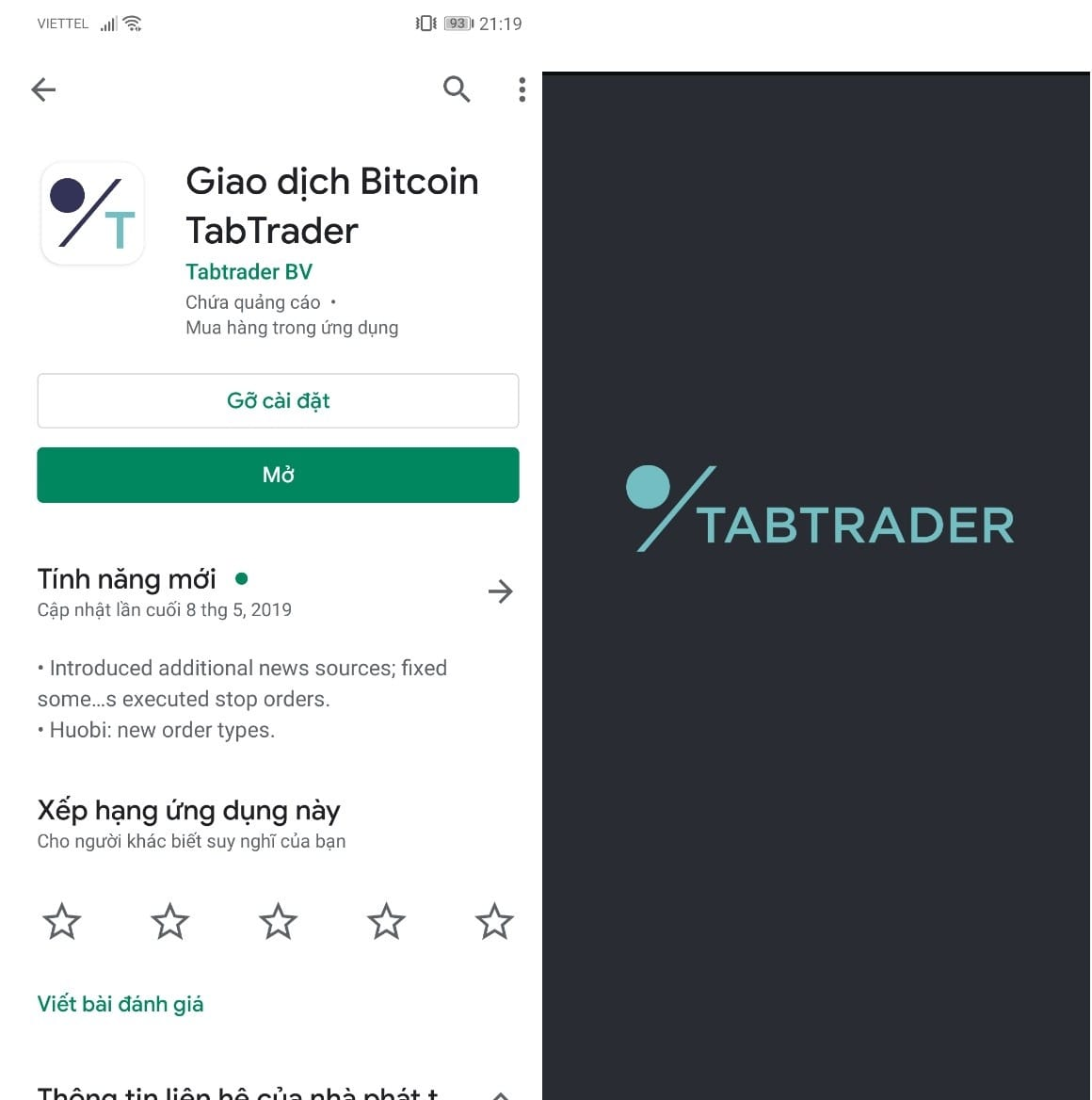 Giao diện của giao Dịch Bitcoin TabTrader
