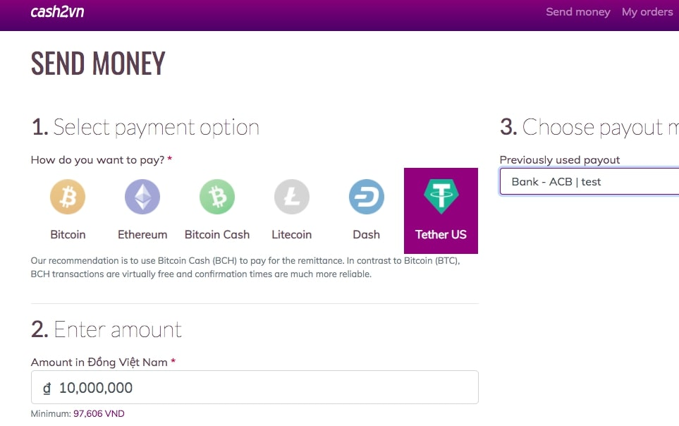 Send money to Vietnam - fast & easy via Cash2VN; now with USDT (Tether) support!