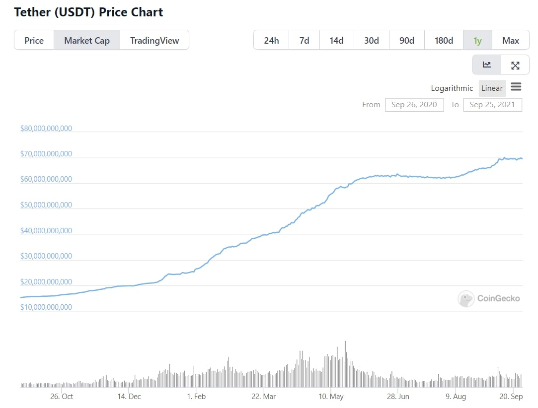 Tether's impressive issuance growth over the past year